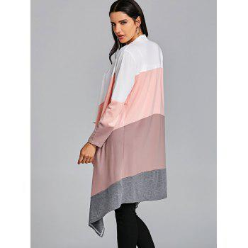 Open Front Color Block Asymmetric Cardigan - PINK ONE SIZE