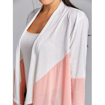 Open Front Color Block Asymmetric Cardigan - PINK PINK