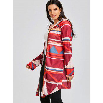 Color Block Geometric Print Hooded Cardigan - RED S