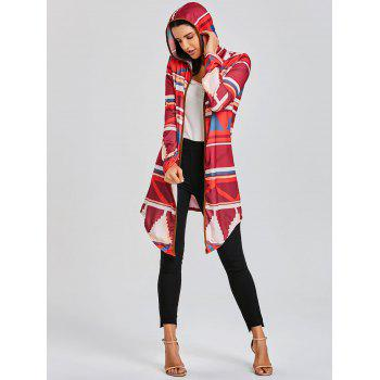 Color Block Geometric Print Hooded Cardigan - RED RED