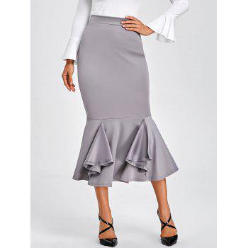 Bodycon Mermaid Midi Skirt - GRAY GRAY