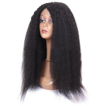 Long Center Parting Fluffy Afro Curly Lace Front Synthetic Wig - BLACK