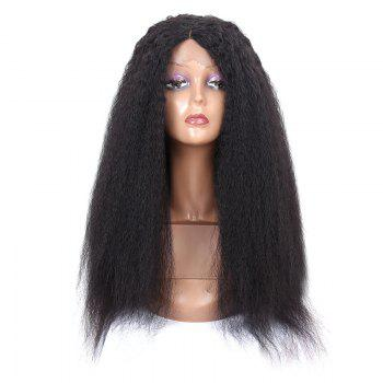 Long Center Parting Fluffy Afro Lace Front Synthetic Wig - BLACK BLACK