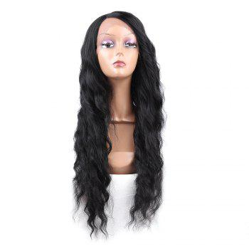 Long Side Parting Wavy Heat Resistant Synthetic Lace Front Wig - BLACK BLACK