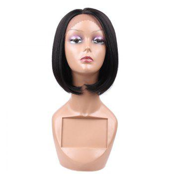 Short Center Parting Lace Front Straight Bob Synthetic Wig - BLACK BLACK
