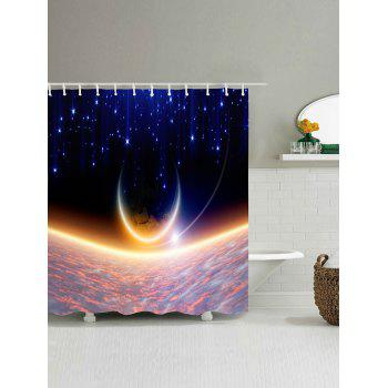 Shiny Moon Pattern Waterproof Polyester Bath Curtain - BLUE BLUE