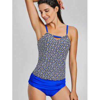 Cami Straps Printed Swimsuit - BLUE L