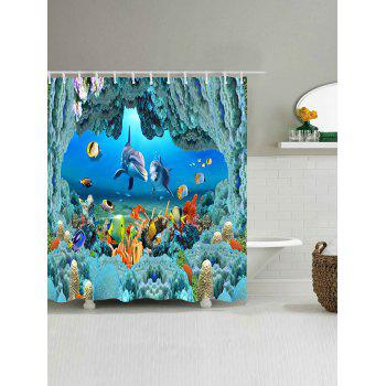 Underwater World Pattern Waterproof Polyester Bath Curtain - BLUE W71 INCH * L79 INCH