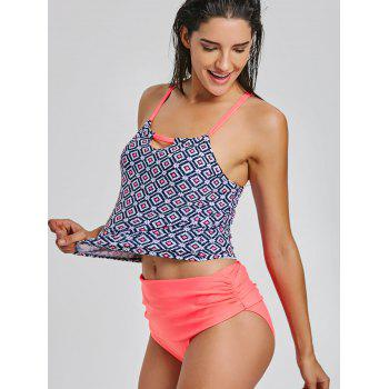 Cami Straps Printed Tankini Set - ORANGE RED 2XL