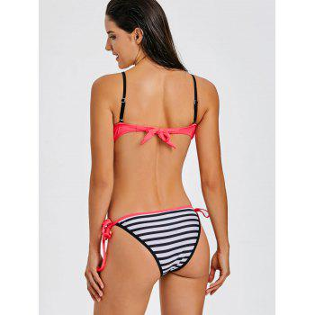 Stripe Moulded Push Up Bikini - HOT PINK L