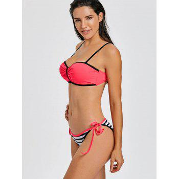 Stripe Moulded Push Up Bikini - HOT PINK HOT PINK