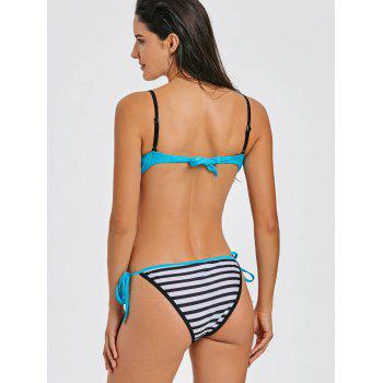 Stripe Moulded Push Up Bikini - LAKE BLUE M