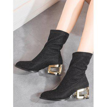 Metallic Heel Pointed Toe Mid-Calf Boots - BLACK 37