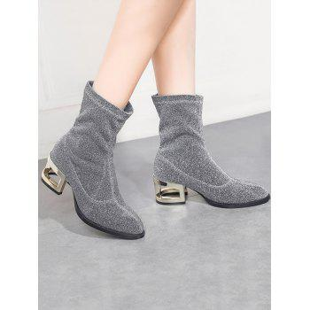 Metallic Heel Pointed Toe Mid-Calf Boots - SILVER 37