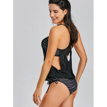 Caged Cutout Tankini Top and Bottom Swimsuit - BLACK BLACK