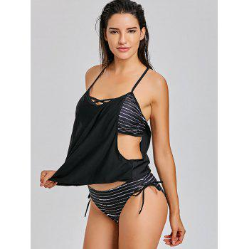 Caged Cutout Tankini Top and Bottom Swimsuit - BLACK M