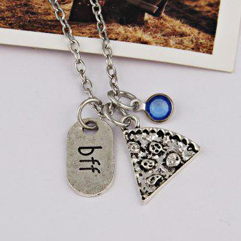 BFF Carving Decoration Friendship Necklace -  BLUE