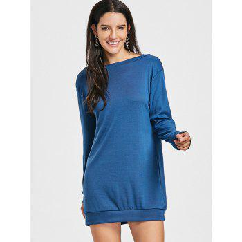 Lace Panel Open Back Sweatshirt Dress - BLUE BLUE