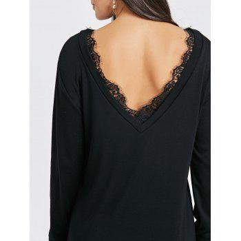 Lace Panel Open Back Sweatshirt Dress - BLACK L