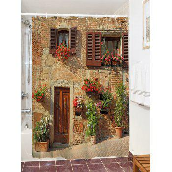 Retro Brick House Print Waterproof Shower Curtain - COLORMIX W59 INCH * L71 INCH