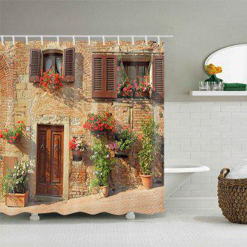 Retro Brick House Print Waterproof Shower Curtain - COLORMIX W71 INCH * L71 INCH