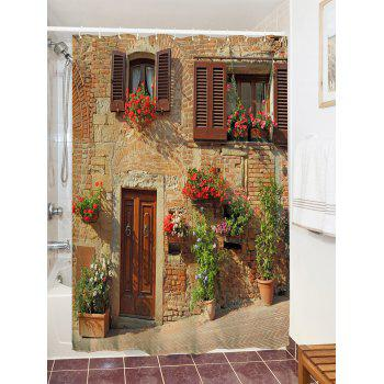 Retro Brick House Print Waterproof Shower Curtain - COLORMIX W71 INCH * L79 INCH