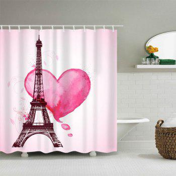Valentine's  Day Eiffel Tower Heart Print Waterproof Shower Curtain - PINK W71 INCH * L79 INCH