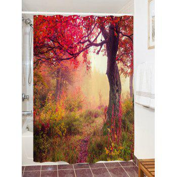Maple Forest Path Print Waterproof Shower Curtain - COLORMIX W71 INCH * L79 INCH