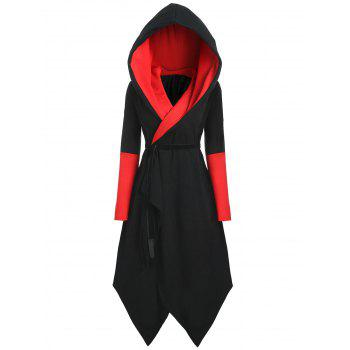 Plus Size Asymmetric Color Block Hooded Coat - BLACK&RED BLACK/RED