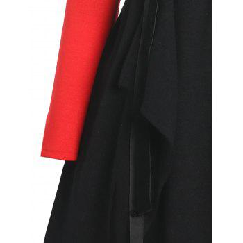 Plus Size Asymmetric Color Block Hooded Coat - BLACK/RED BLACK/RED
