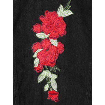 Flower Embroidered Applique Shirt Jacket - BLACK BLACK
