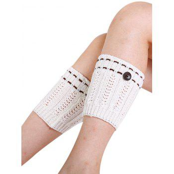 Soft Button Embellished Crochet Knitted Leg Warmers - WHITE WHITE
