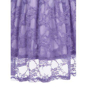 Vintage Fit and Flare Party Lace Dress - PURPLE 2XL