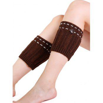 Soft Button Embellished Crochet Knitted Leg Warmers - LIGHT COFFEE LIGHT COFFEE