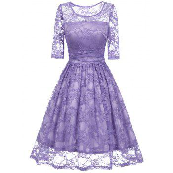 Vintage Fit and Flare Party Lace Dress - PURPLE PURPLE