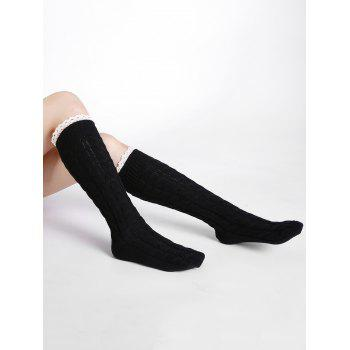 Soft Lace Brim Crochet Knitted Stockings - BLACK