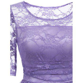 Vintage Fit and Flare Party Lace Dress - PURPLE M
