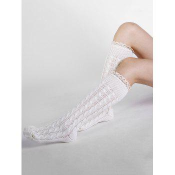 Soft Lace Brim Crochet Knitted Stockings -  WHITE