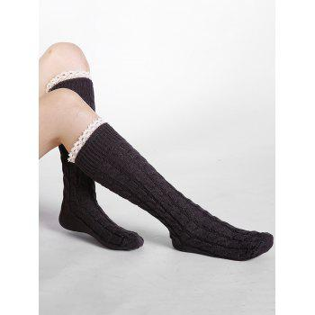Soft Lace Brim Crochet Knitted Stockings - DEEP GRAY