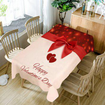 Love Heart Bowknot Printed Waterproof Table Cloth - COLORFUL COLORFUL