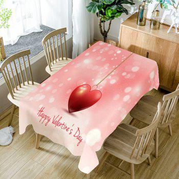 Heart Necklace and Letters Printed Waterproof Table Cloth - PINK PINK