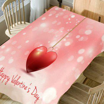 Heart Necklace and Letters Printed Waterproof Table Cloth - PINK W54 INCH * L72 INCH
