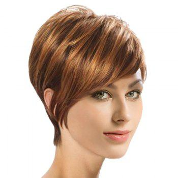 Short Inclined Fringe Colormix Synthetic Straight Wig - COLORMIX COLORMIX