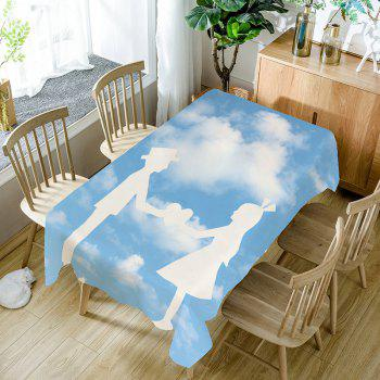 Valentine's Day Hand in Hand Love Patterned Table Cloth - BLUE WHITE BLUE WHITE
