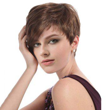 Short Inclined Bang Capless Layered Straight Synthetic Wig - LIGHT BROWN LIGHT BROWN