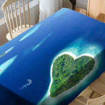Heart Islands Pattern Microfiber Waterproof Table Cloth - BLUE W54 INCH * L54 INCH