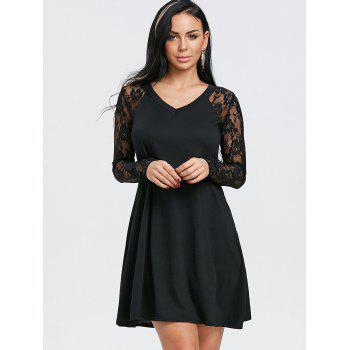 V Neck Floral Lace Panel Tunic Dress - BLACK L