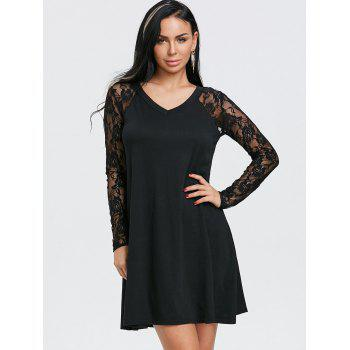 V Neck Floral Lace Panel Tunic Dress - BLACK BLACK