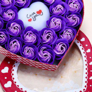 Valentine's Day Gift Led Flash Light Heart and Soap Roses Flowers in a Box - PURPLE 21*19*4.5CM