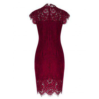 Vintage Fitted Lace Dress - WINE RED WINE RED